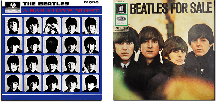 A Hard Days Night and Beatles For Sale album covers